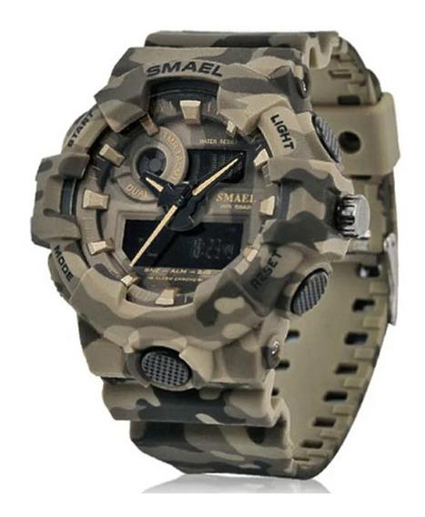 Relógio Militar Camuflado Esportivo Digital Smael 8001