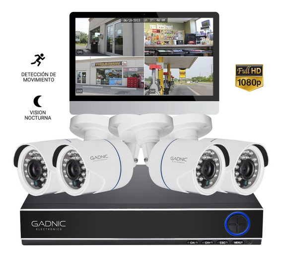Kit Seguridad Dvr 4 + 4 Camaras Exterior P2p Ip Full Hd 1 Tb