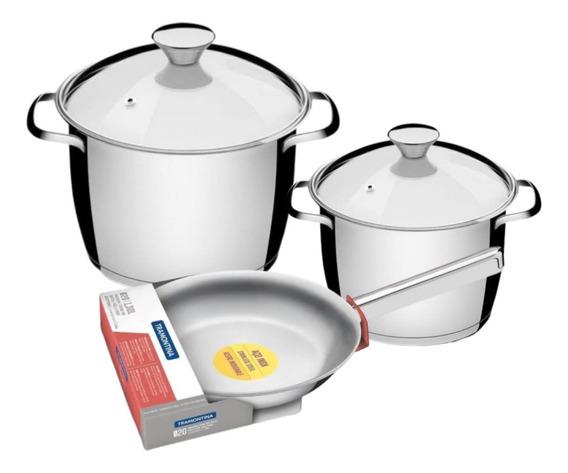 Set Bateria Cocina Acero Tramontina 5 Pz Induccion Sarten