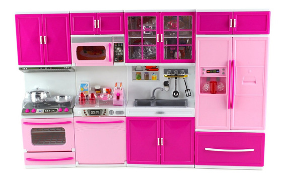 Cozinha Infantil P/ Bonecas Barbie Brinquedo 4 Em 1 Com Som!