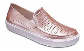 Zapato Dama Crocs Citilane Roka Metallic Oro Rosado