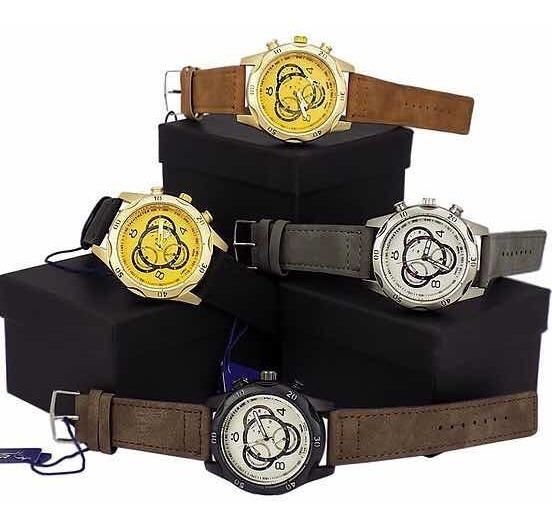 Kit 4 Relógios Masculino Dourado Original + Caixa