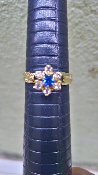 Anel De Formatura Pedra Azul Feminino Folheado A Ouro 18k