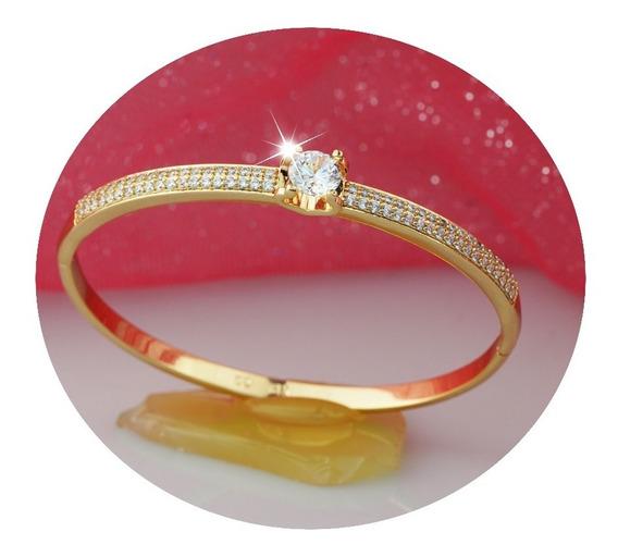 Pulseras Oro 18k Dama Mama Brazalete Mujer Diamante Zirconia