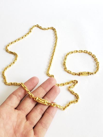 Cordão E Pulseira Masculina Cadeado 6mm Banhado A Ouro 70cm