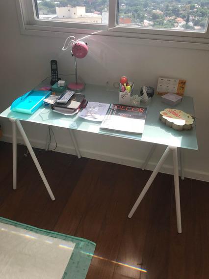 Mesa Escrivaninha Vidro Temperado Leitoso Tok Stok