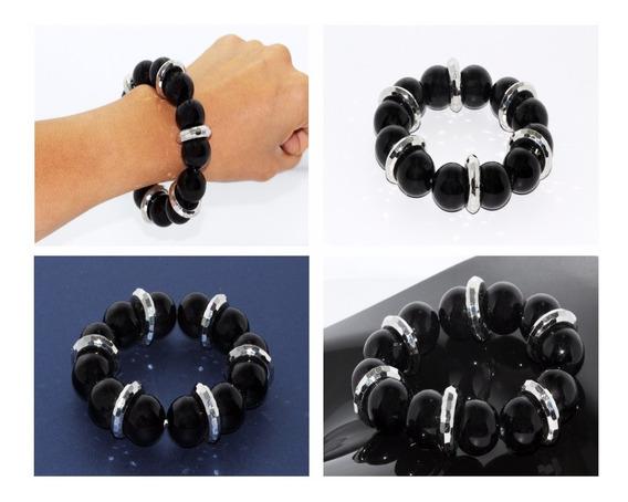 Pulsera Moda Casual Esferas Negras Y Aros Plateados Pc179