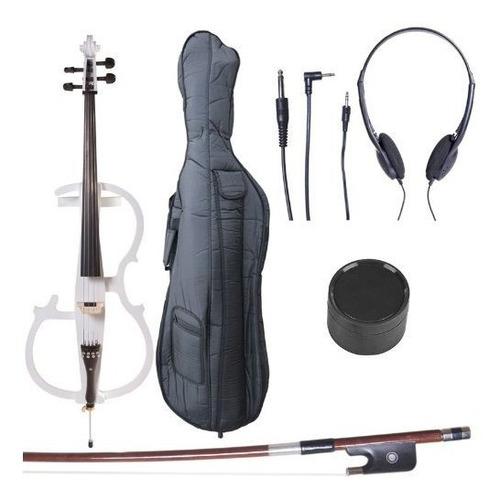Cecilio 4/4 Ceco-2wh Cello Electrico Blanco Perla Con Acceso