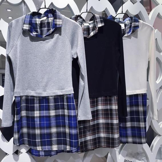 Camisa Feminina Xadrez Manga Longa Com Blusinha Tricô P