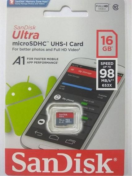 Micro Sdhc Sandisk 16gb Ultra A1 Original Lacrado