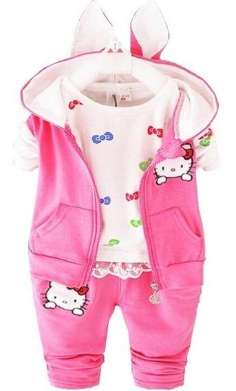 Conjunto Camiseta + Blusa + Calça Hello Kitty Bebê Menina