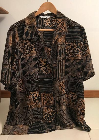 Camisa Marrom Estampada