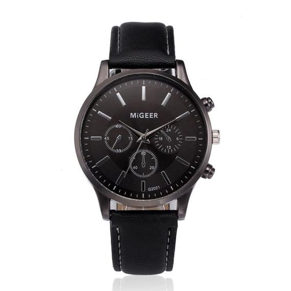 Relógio Masculino Pulseira De Couro Social Original Barato Migeer 2021 Promoção