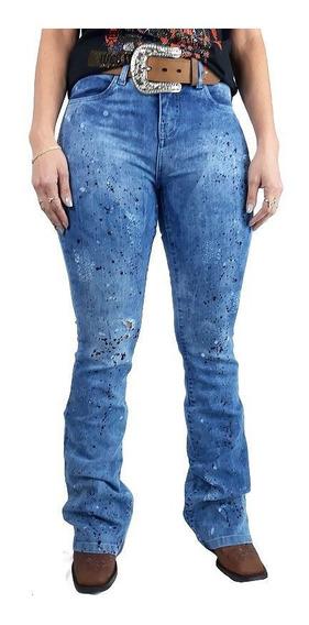 Calça Jeans Feminina Tassa Boot Cut Marmorizado