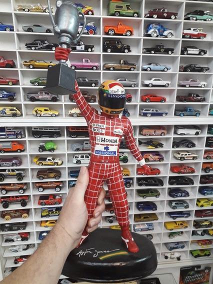 Ayrton Senna Tamaño 40 Cm F1 Realizado A Mano Ideal Altar.
