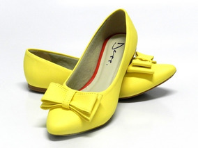 Sapatilha Feminina Bico Fino Laço Amarelo