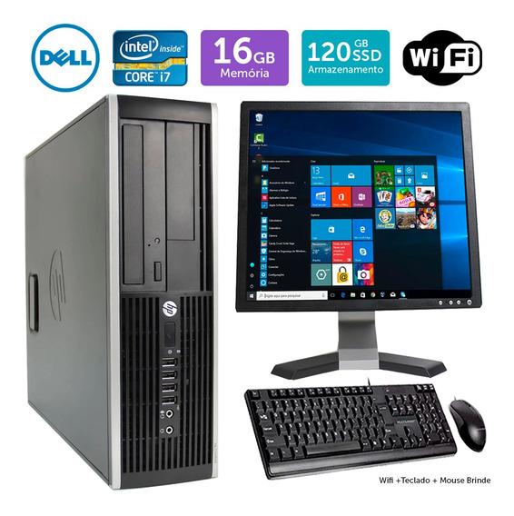 Computador Barato Hp Compaq 8200sff I7 16gb Ssd120 Mon17q