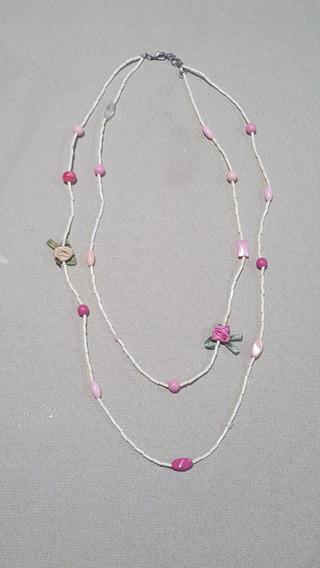 Colar Pedrinhas Flores Cor De Rosa