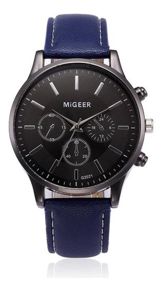 Relógio Masculino Design Retro Pulseira De Couro Migger