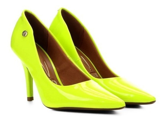 Scarpin Neon Feminino Fluorescente Salto Alto Fino Verde
