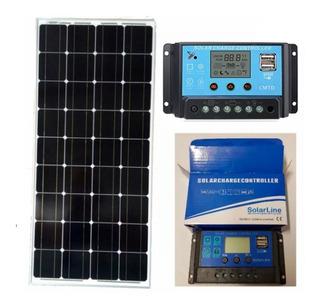 Panel Solar Solar 100 Watt + Regulador 20 Amper P/ Motorhome