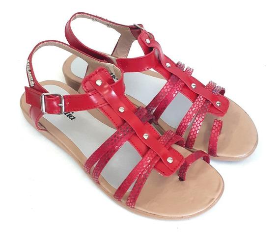 Sandalias De Mujer Bajas Flexibles Cuero Verano 2020 Vilna