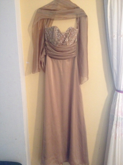 Hermoso Vestido De Fiesta Largo Color Dorado.talla M