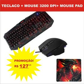 Kit Teclado Mouse Gamer + Mouse 3200 Dpi + Mouse Pad