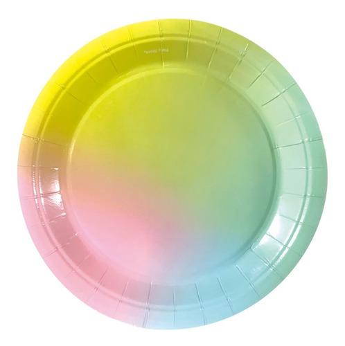 Imagen 1 de 2 de Plato Polipapel 17cm Multicolor Pastel X 6 Unidades Cotillon