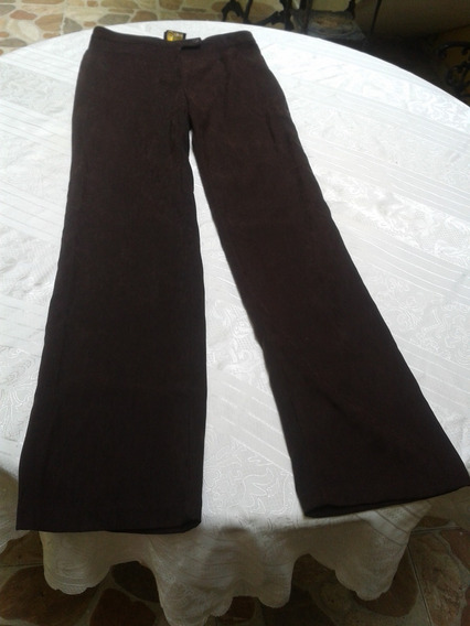 Pantalon Dama Vestir Ejecutivo Color Marron Talla 10 Strech