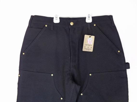 Pantalón Hombre Lona Carhartt Original, Negro Talla 30x33