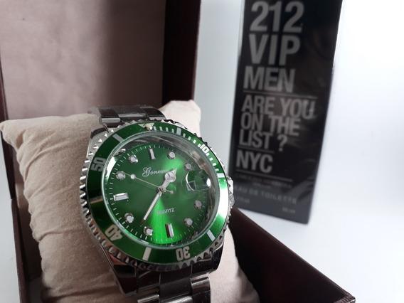 Relógio Masculino Prata Prateado Inox + Caixa + Perfume
