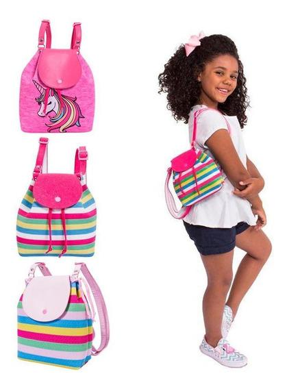 Bolsas Infantis Princesa Pink Kit 3 Bolsas Unicórnio E Listradas - Tamanho Único