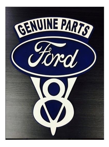 Placa Decorativa Quadro Entalhado Em Madeira Ford V8