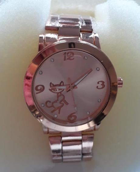 Relógio Feminino Dourado Ou Rosé Barato Analógico Promoção