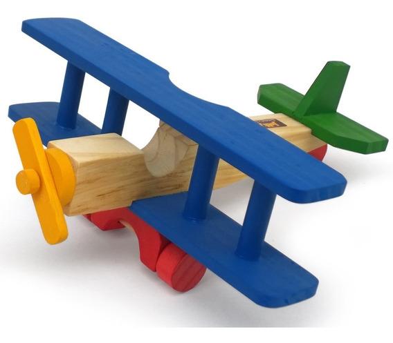 Brinquedo Educativo Avião Madeira Biplano Colorido