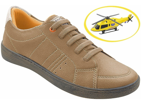 Sapato Infantil Menino Masculino Bege+brinde Helicóptero