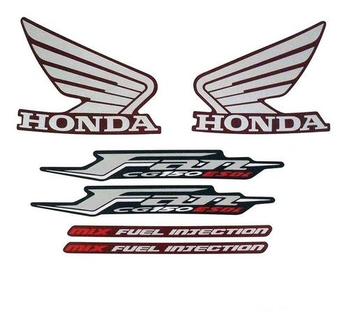 Kit Adesivo Jogo Faixa Moto Honda Fan 150 2011 Esdi Vermelha