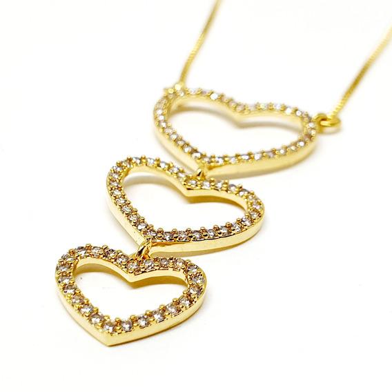 Colar Folheado A Ouro 3 Corações C/ Zirconias Cravejadas