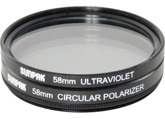Set Filtro 58mm Uv Polarizador Circular Sunpak Cf-7080-tw-mw