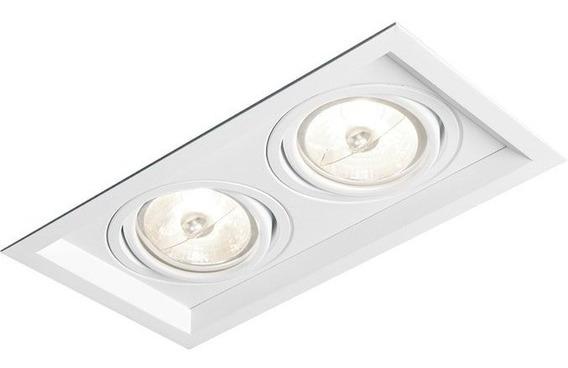 Kit 2 Spot Recuado Branco Duplo Dicroica 4 Lampada 7w 3000k