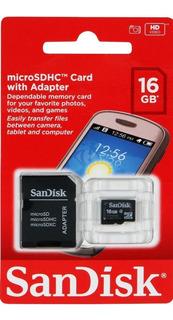 Micro Sd Sandisk 16gb C4 Con Adaptador.