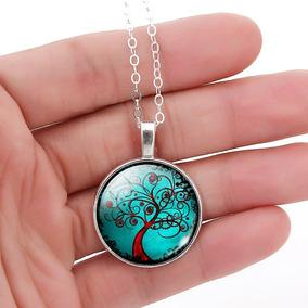 Colar Árvore Da Vida Cabochão De Vidro Amuleto Da Vida