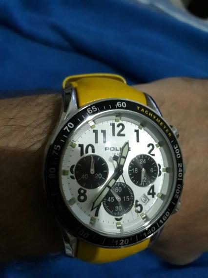 Relógio Police Amarelo Novo Lindo