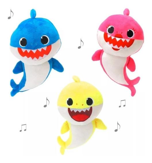 C/ Bateria/musical/4 Led/ 3 Pelúcia Bebê Tubarão Baby Shark