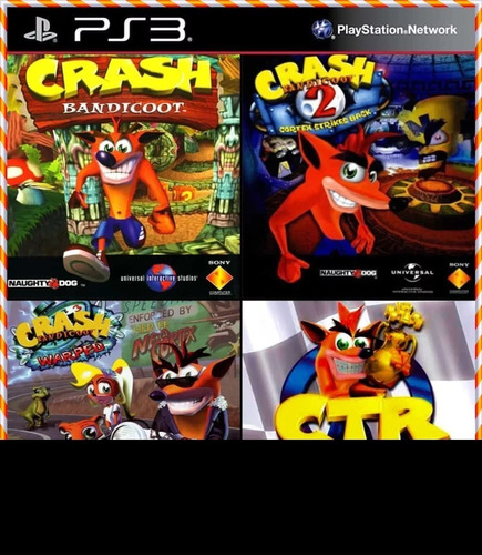 Crash 1 2 3 + Crash Team Racing 4 Em 1 Jogos Ps3