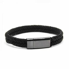 Bracelete Couro Slim Preto Pulseira Unissex Black Metal