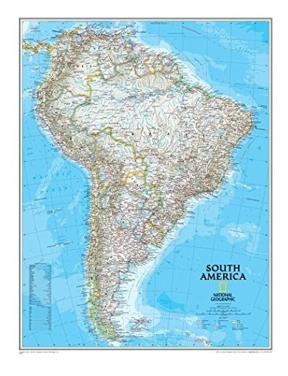 Mapa : National Geographic South America Classic Wall Map -.