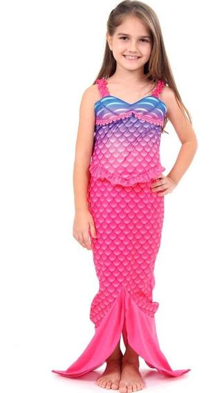 Roupa De Peixe Sereia Rosa Vestido Infantil Feminina C/cauda