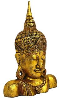 Estátua Máscara Buda Decorativo Madeira Decoração - 50cm